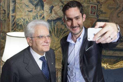 Il selfie del presidente Mattarella con Kevin York Systrom, fondatore di Instagram