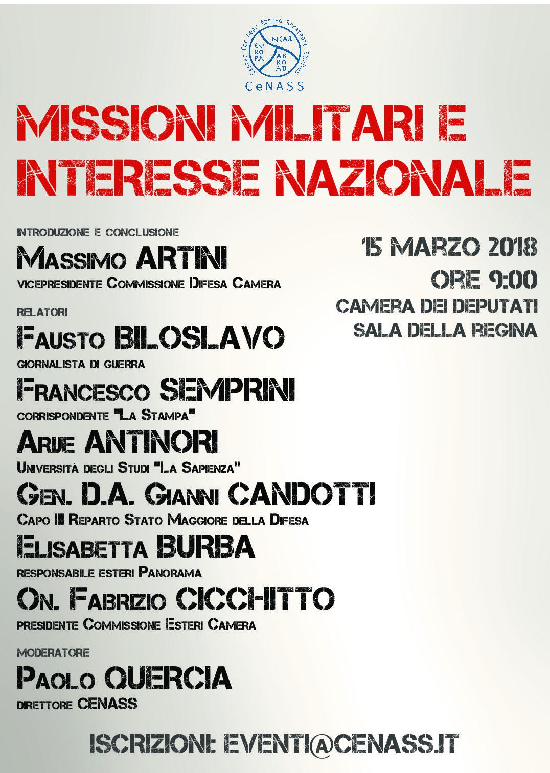 """Seminario """"Missioni Militari e Interesse Nazionale""""  15.03.2018 Camera dei Deputati, Sala della Regina"""